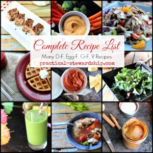 Complete Recipe List Many DF, GF, Egg F and V Recipes