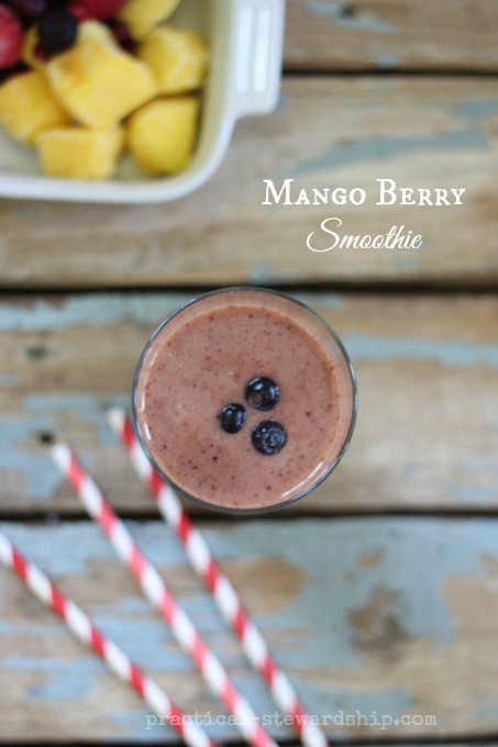 Mango Berry Smoothie | practical-stewardship.com