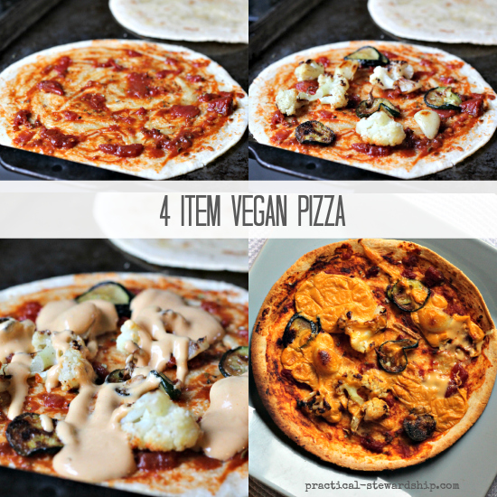 4 Item Vegan Pizza Collage
