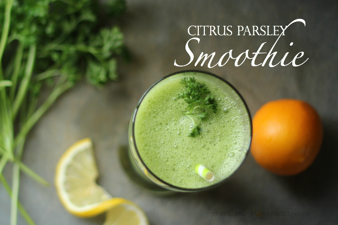 Citrus Parsley Smoothie with Garnish