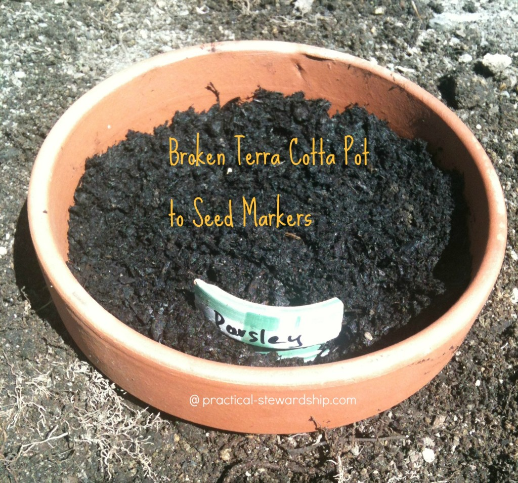 Re-purposed Broken Terra Cotta Pot to Seed Marker