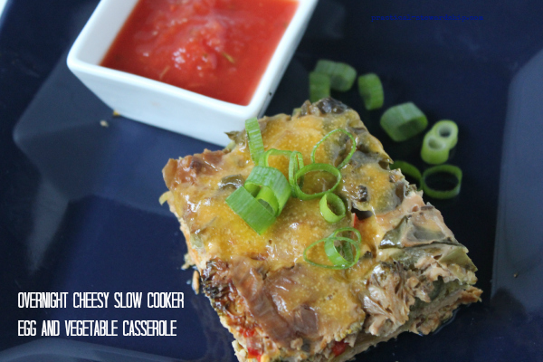Slow Cooker Overnight Cheesy Egg and Vegetable Casserole