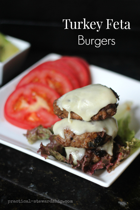 Turkey Feta Spinach Burgers with Cheese