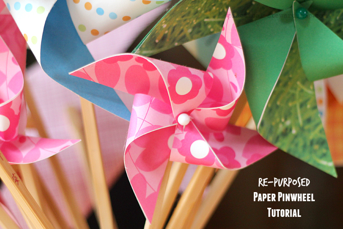 Re-purposed Paper Pinwheel Tutorial