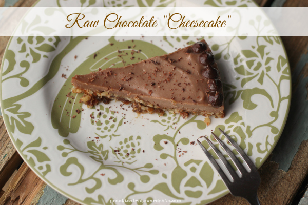 Raw Chocolate Cheesecake, Vegan, D-F, G-F