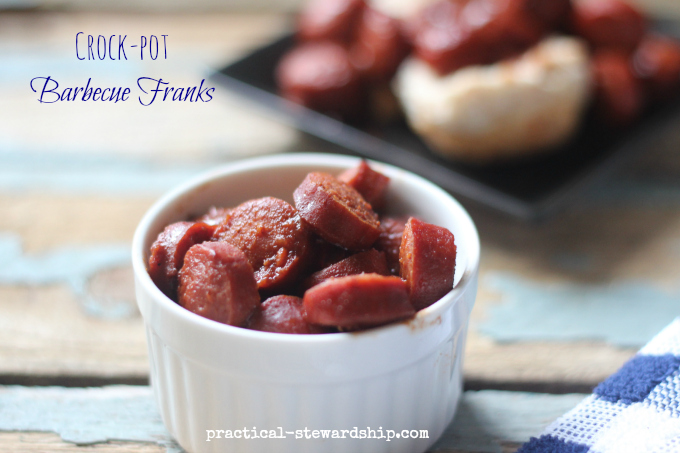 Slow Cooker Barbecue Franks | practical-stewardship.com
