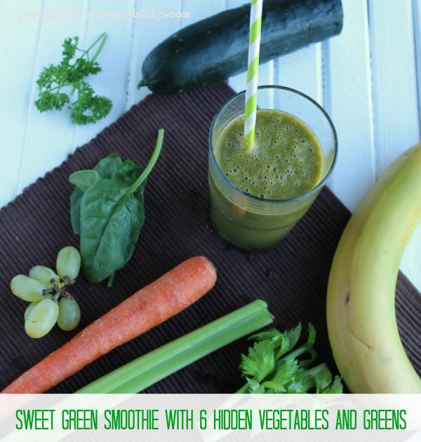 Sweet Green Smoothie with 6 Hidden Vegetables and Greens