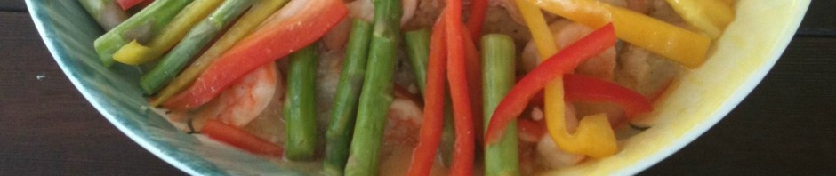 Crock-pot Risotto with Citrus Prawns, Asparagus, & Bell Peppers