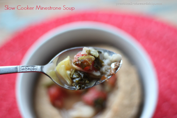 Crock-pot Minestrone Soup in a Bread Bowl