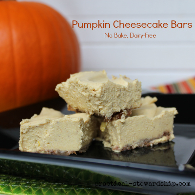 Pumpkin Cheesecake Bars No Bake Dairy-Free