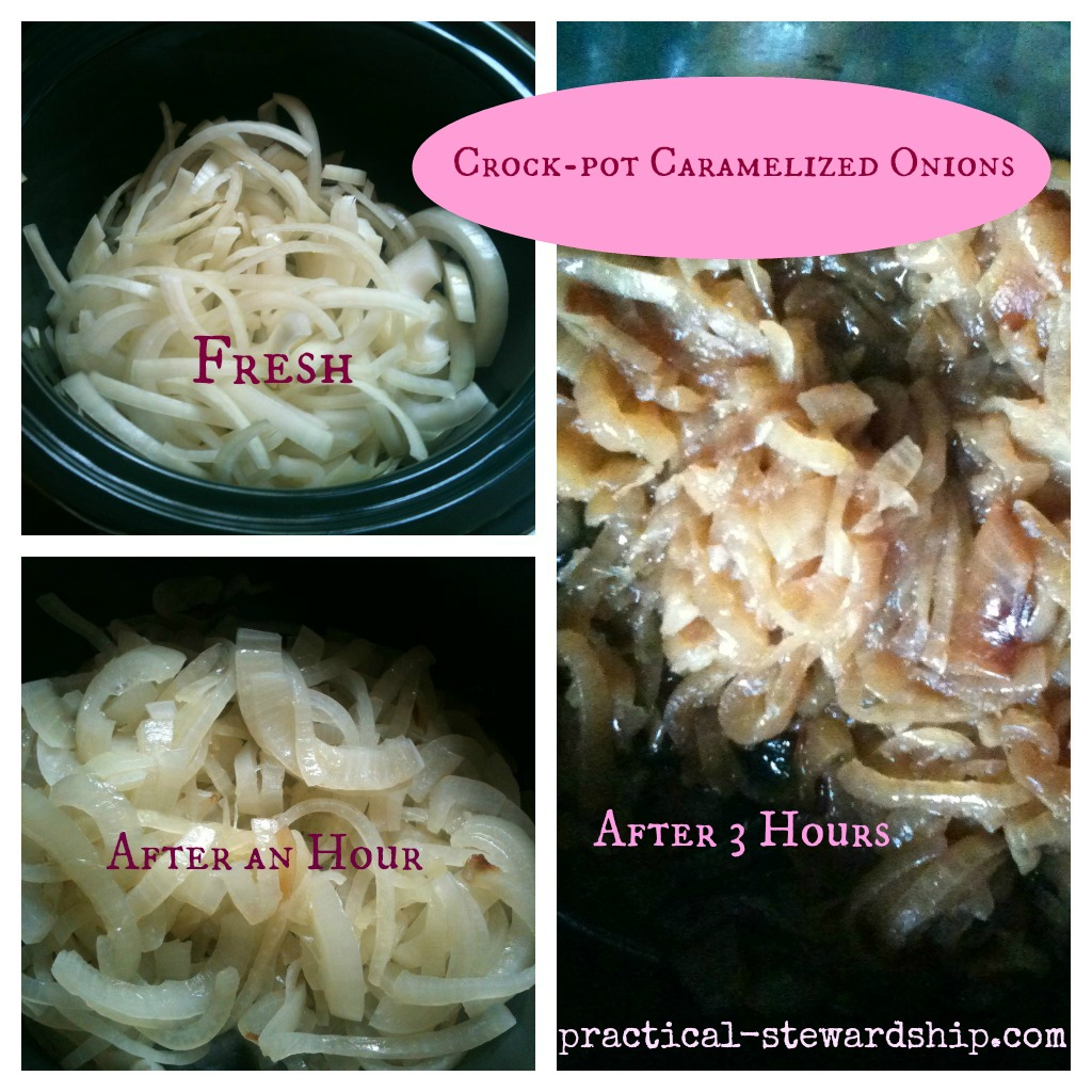 Caramelized Onions in the Crock-pot  Collage @ practical-stewardship.com