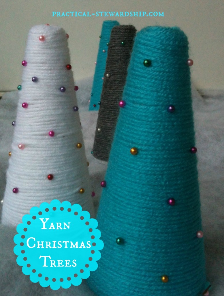 Yarn Christmas Tree Cones @ practical-stewardship.com