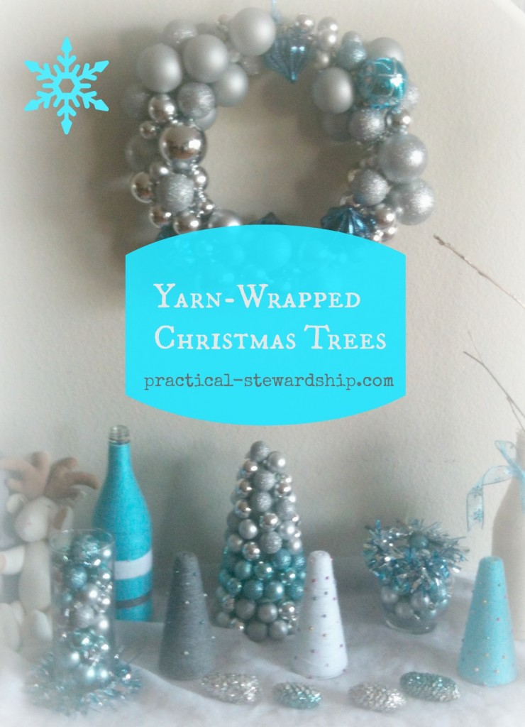 Yarn-Wrapped Christmas Trees @ practical-stewardship.com