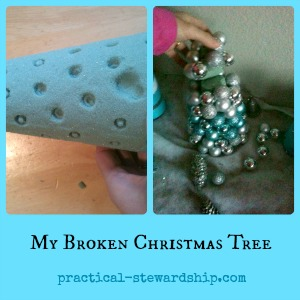 Broken Ornament Christmas Tree Collage