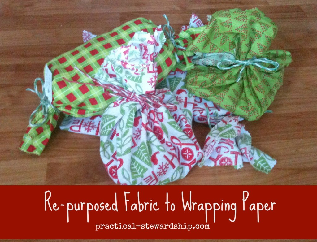 Re-purposed Christmas Fabric to Wrapping Paper @ practical-stewardship.com
