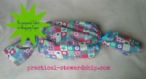 Re-purposed Fabric to Wrapping Paper @ practical-stewardship.com