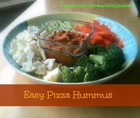 Easy Pizza Hummus @ practical-stewardship.com