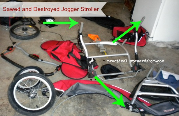 Sawed and Destroyed Jogger Stroller