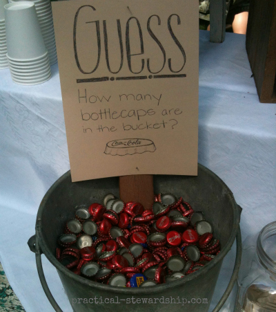 Bottle caps @ the Burlap Party