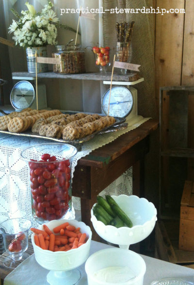 Veggie and dessert bar @ the Burlap Party