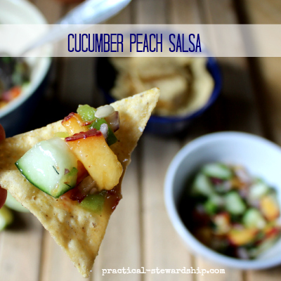 Cucumber Peach Salsa with Chips