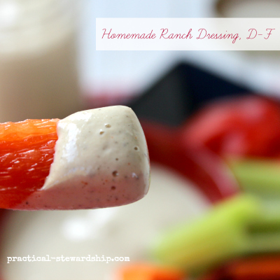 Homemade Ranch Dressing, D-F