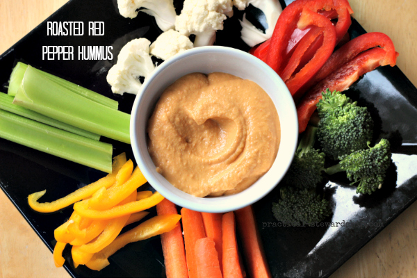 Roasted Red Pepper Hummus, Vegan