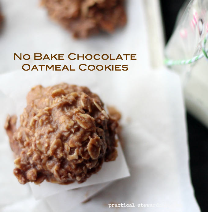 No Bake Chocolate Oatmeal Cookies | practical-stewardship.com