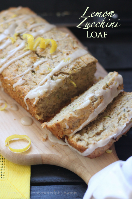 Lemon Zucchini Bread with Lemon Glaze, D-f, Vegan opt. G-f opt.