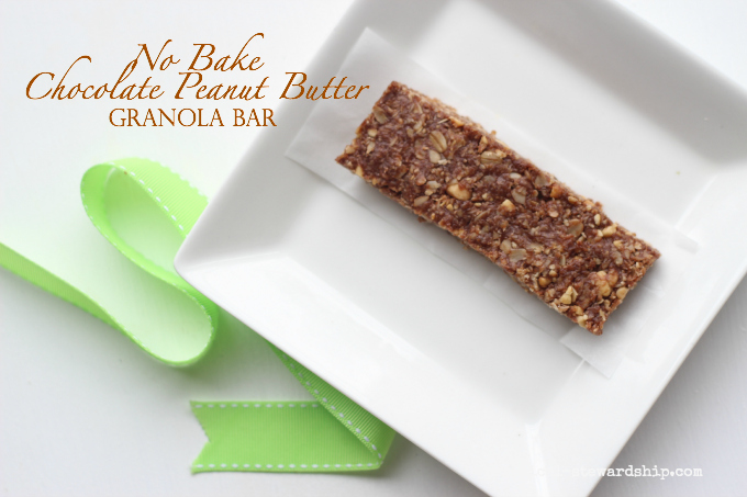 4 Ingredient No Bake Chocolate Peanut Butter Granola Bars