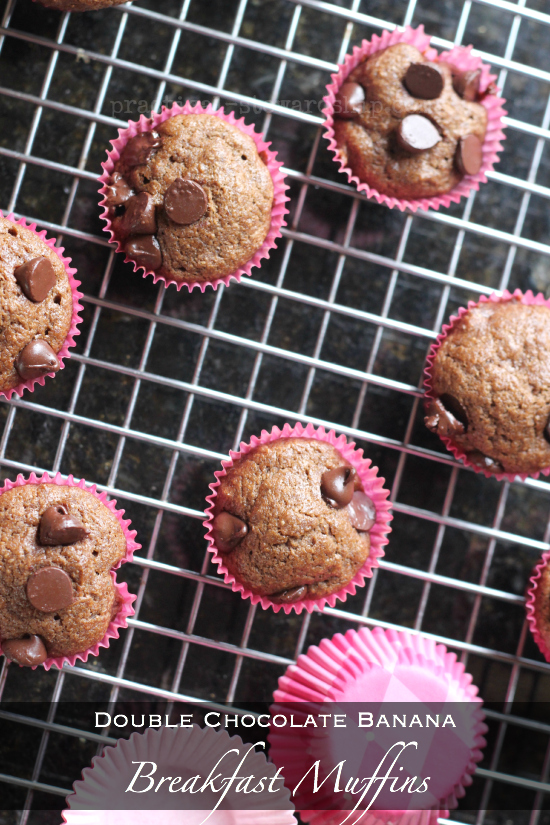 Double Chocolate Banana Breakfast Muffins Recipe Above