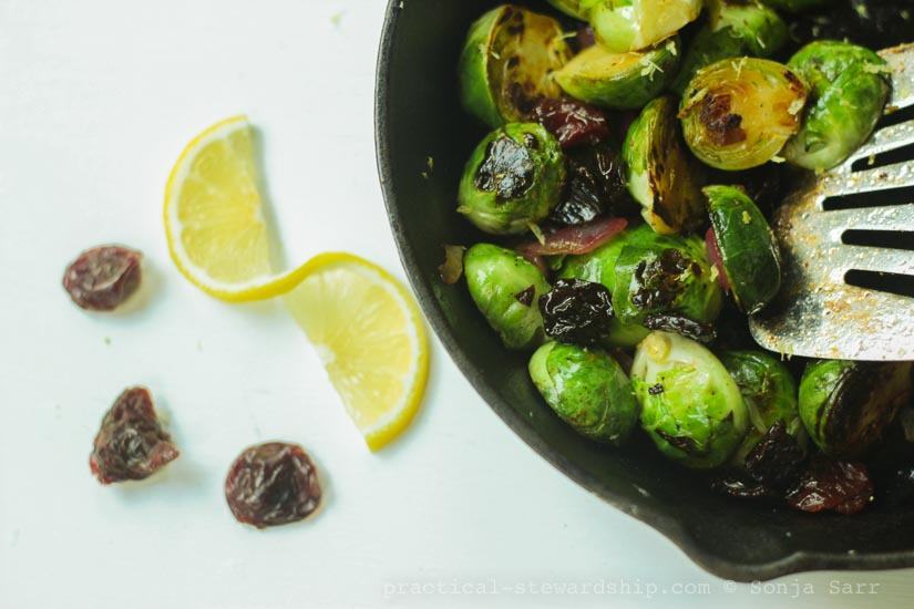 Caramelized Brussels Sprouts with Lemon and Cherries