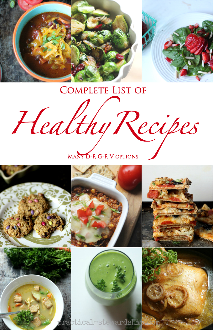 Complete list of healthier for you recipes practical stewardship complete list of healthier for you recipes forumfinder Gallery