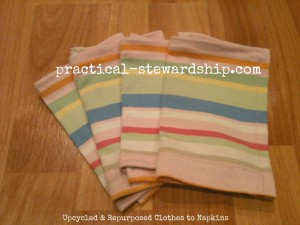 Up-cycled Napkins from Old Clothes Tutorial @ practical-stewardship.com