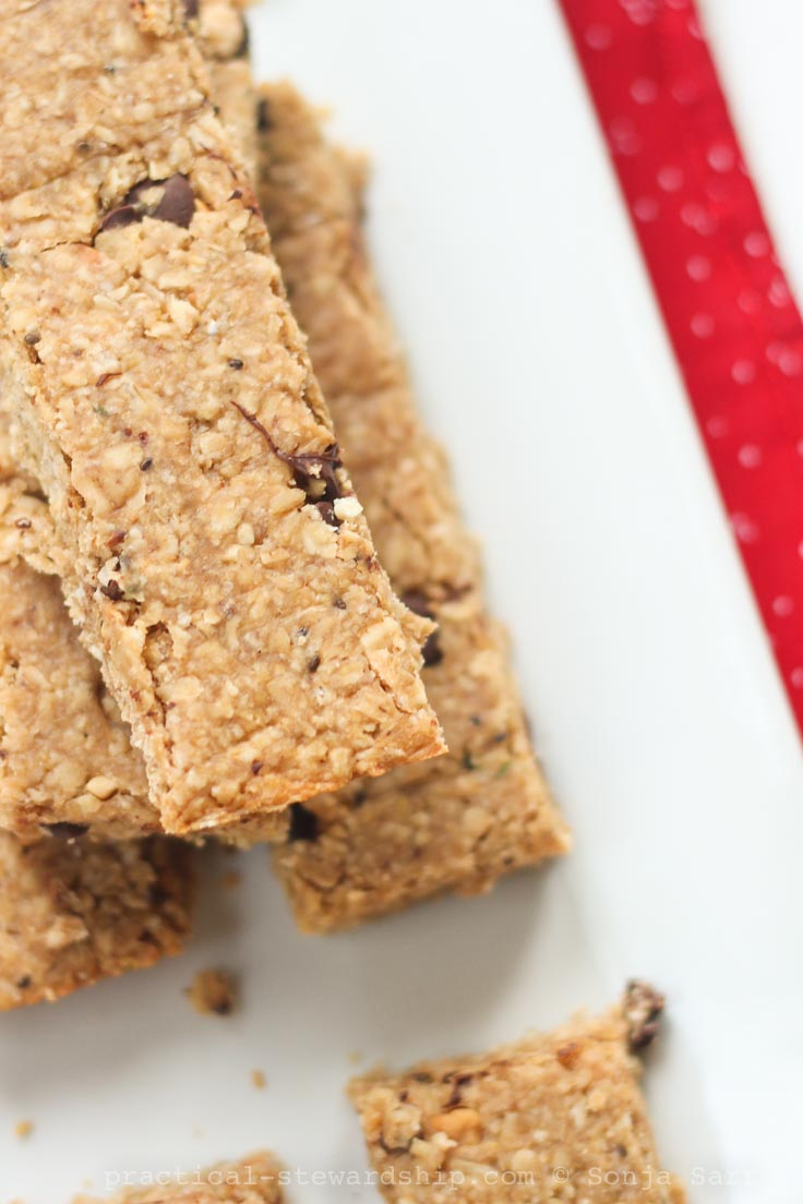 4 Ingredient Chewy Peanut Butter Granola Bars