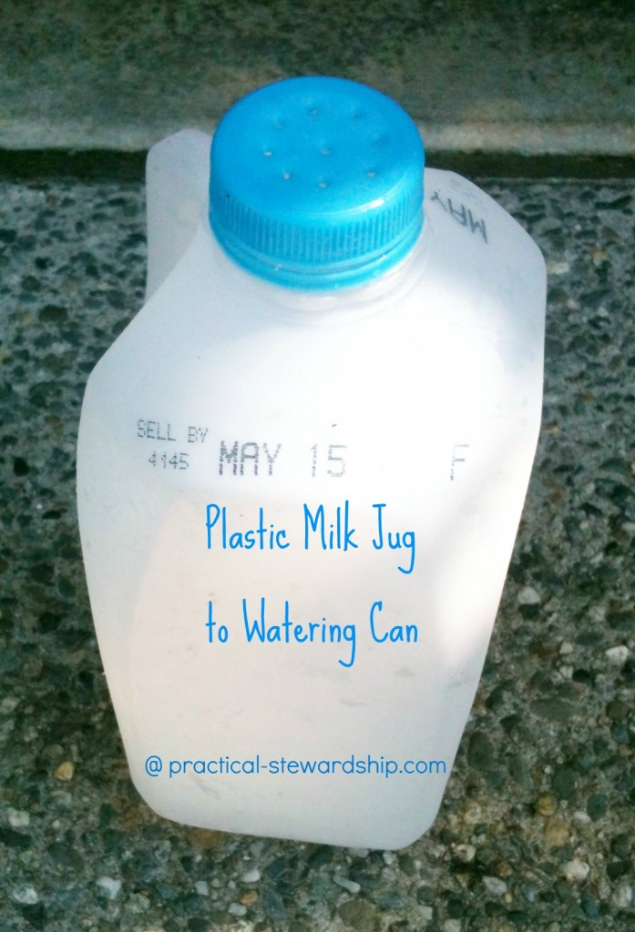 Re-puposed Plastic Milk Jug to Water Can