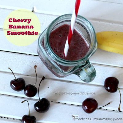 Cherry Banana Smoothie in a Mason Jar Glass