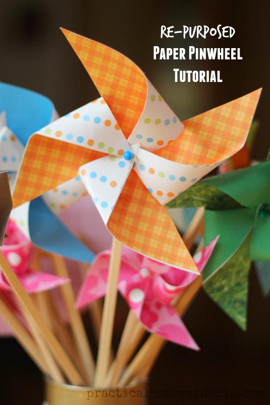Re-purposed Paper Pinwheel Tutorial