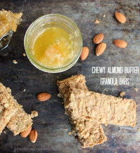 4 Ingredient Chewy Almond Butter Granola Bars, GF, DF