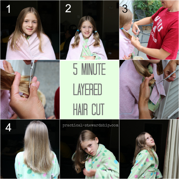 5 Minute Layered Hair Cut Tutorial Collage