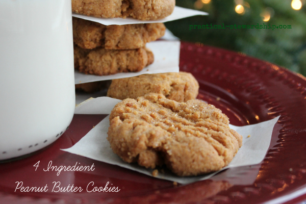 Gluten-Free 4 Ingredient Peanut Butter Cookies