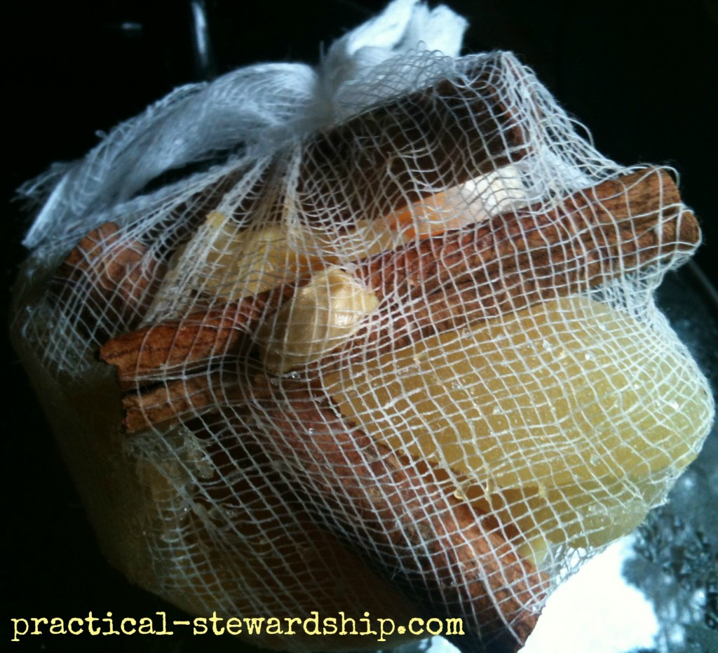 Cheesecloth with Apple Cider Spices @ practical-stewardship.com