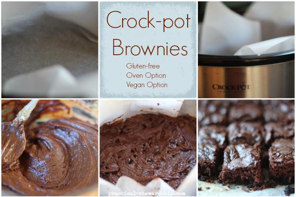Crock-pot Brownie Collage, Vegan option, gluten-free, oven baked option