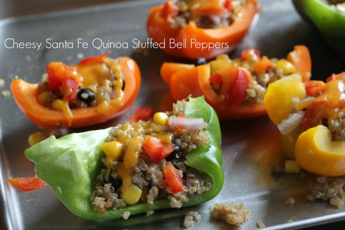 Cheesy Santa Fe Quinoa Stuffed Bell Peppers