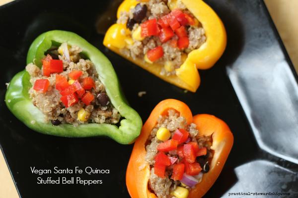Santa Fe Quinoa Stuffed Bell Peppers, Vegan