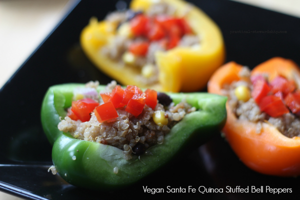 Santa Fe Quinoa Stuffed Bell Peppers, Vegan