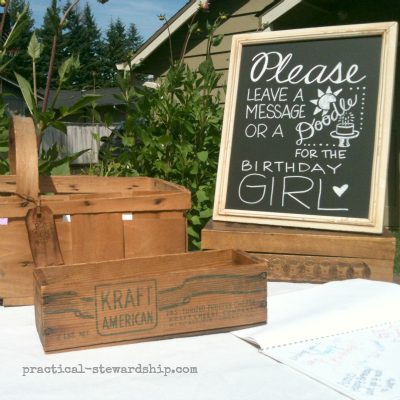 Message for the Birthday Girl @ the Burlap Party Ideas
