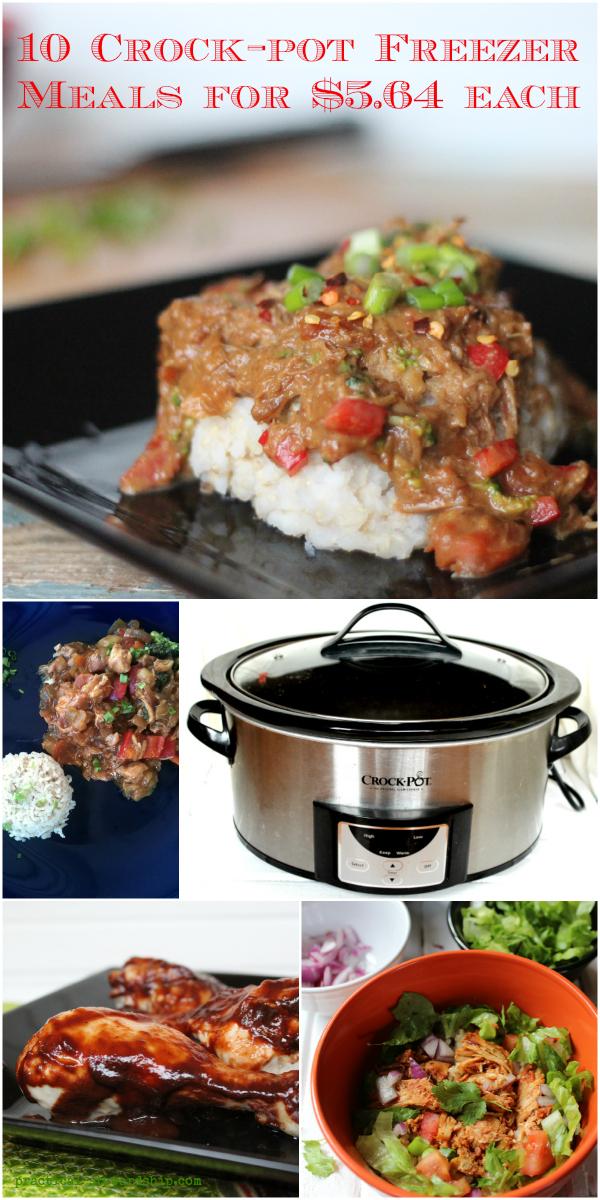 10 Crock-pot Freezer Meals for $5.64 each