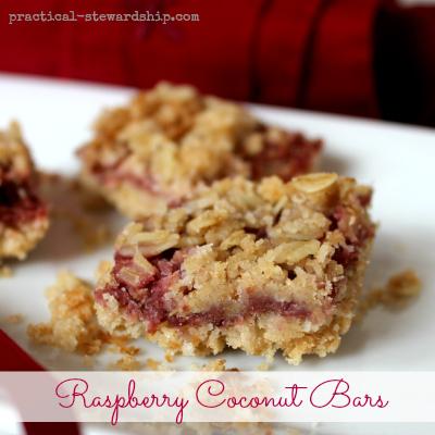 Raspberry Coconut Crumble Bars