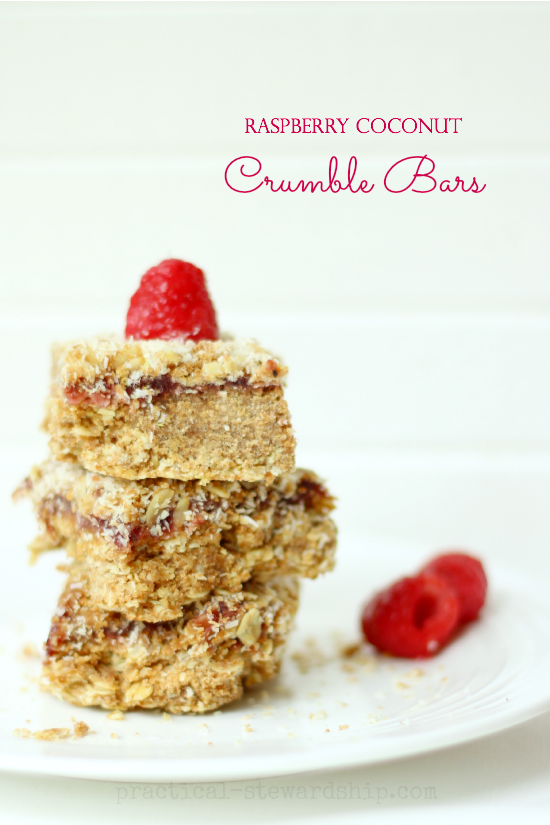 Raspberry Coconut Crumble Bars Stacked